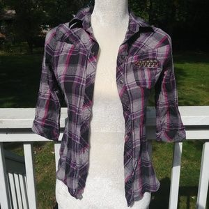 Mudd Purple Plaid Flannel with Studs in Sz S